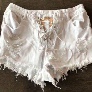 Nasty Gal white lace up high waisted shorts!